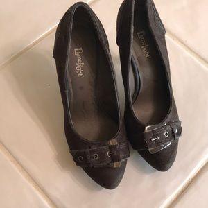 Dark brown suede heels
